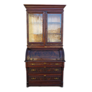 American Antique Cylinder Desk Secretary Bookcase Antique Furniture