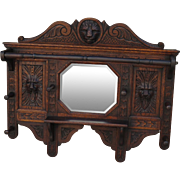 SOLD French Carved Antique Wall Mirror Antique Coat Rack Antique Hat Rack Antique Furniture