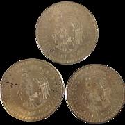 3 1948 Mexican Cinco Pesos Silver Coins 1oz. ea.