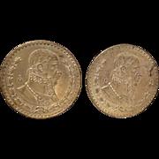 2 1958 Mexican Un Peso Silver Coins