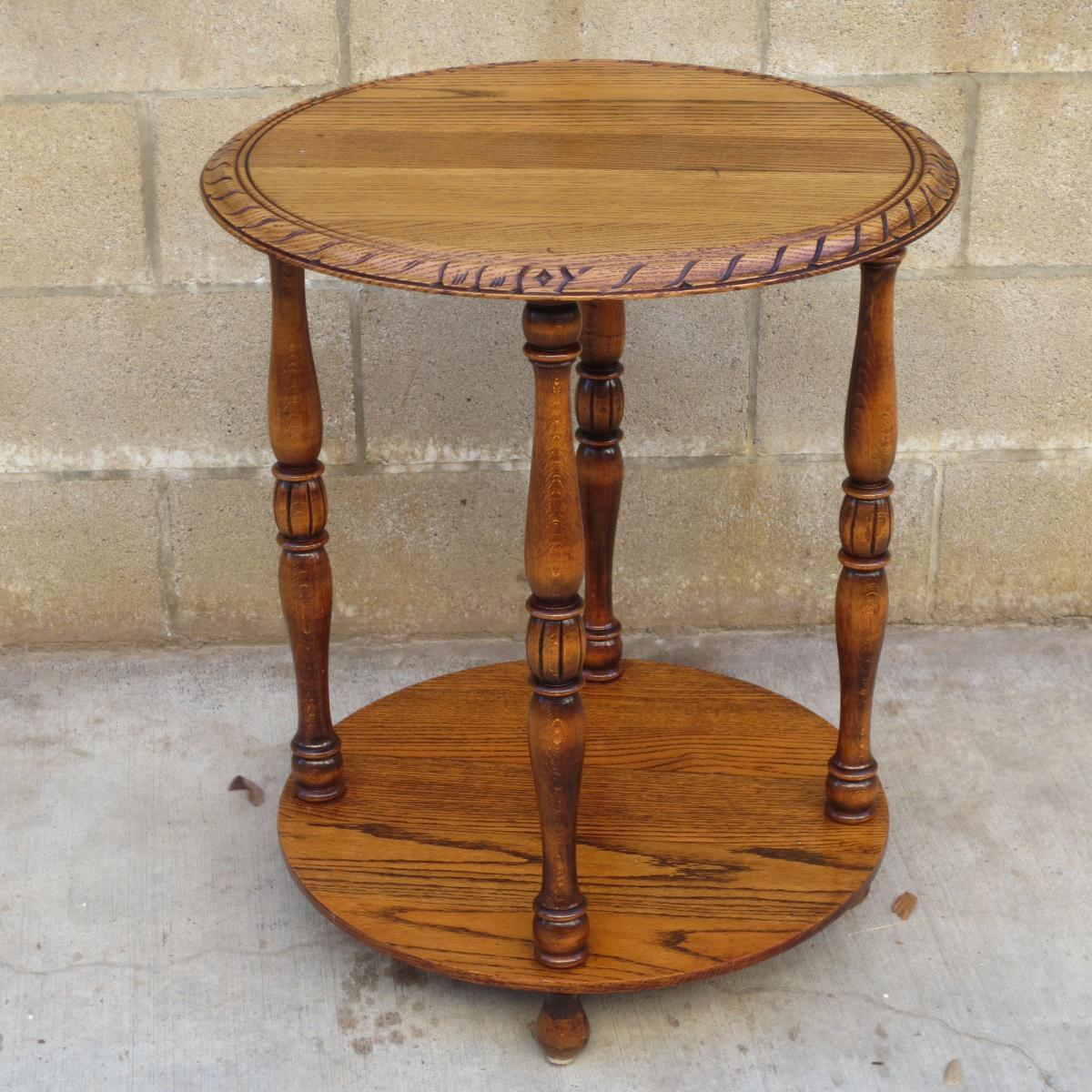 Round Oak Tier Table Lamp Side Table