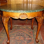 Carved French Antique marble Top Coffee Table Round Coffeetable