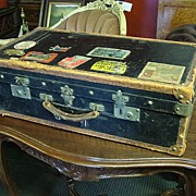 French Antique Well Traveled Suitcase With Original Hotel Stickers Antique Luggage Trunk