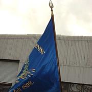 Original Danish Bakery Advertising Flag and Brass Flag Pole