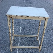 Antique Painted Barley Twist Side Table Shabby Chic English Lamp Table
