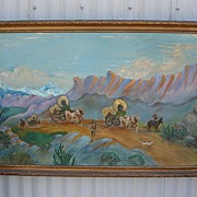Signed Canvas on Board Oil Painting Covered Wagons Old West