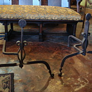 Pair of Hand Forged Antique Arts and Crafts Andirons Mission Craftsman