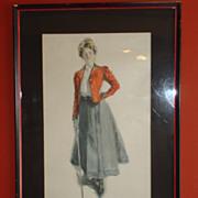 "Original Howard Chandler Christy Lithograph ""Golf Girl - Lady Golfer"" 1900"