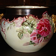 Antique Limoges France LARGE Jardiniere with Roses Jean Pouyat JPL France