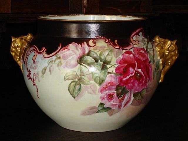 Antique Limoges France LARGE Jardiniere with Roses Jean Pouyat JPL France