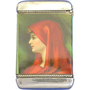 Advertising match safe, celluloid wrapped, pretty young lady, Whitehead & Hoag, Shelby ...