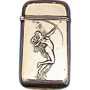 Diana Goddess of the Hunt match safe, sterling by Watrous Mfg. Co.