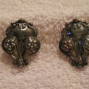 Coro Silver Clip-On Earrings with Flowers