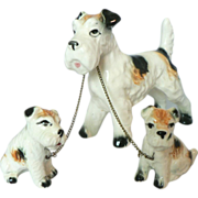 1950s Chained Terrier Dog Mother & Puppies Handpainted Ceramic Old Japan