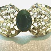 REDUCED Vintage Clamper Bracelet Filigree & Adventurine Cabochon