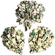 Rare Signed 1950 Holly Craft Brooch & Earring Set Green & Citrine Rhinestones