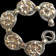 SALE Vintage 1922 Art Deco Signed Napier Sterling Silver & Gold Vermeil Floral Bracelet