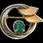 1950s Curtis Jewelry Mfg. Co. Deco Pin w. Emerald Rhinestone 1/20 14kt G.F.