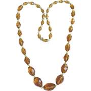1920s Facetted Crystal Topaz Bead Long Necklace