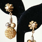 REDUCED Signed Miriam Haskell Classy Long Dangle Bead Gold Ball Earrings