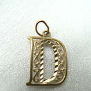 "Vintage 14K Gold Initial Pendant Charm Ornate Open-Work ""D"""