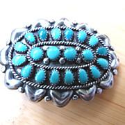 SALE Vintage Hopi Native American Belt Buckle Sterling Silver and Turquoise