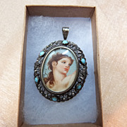 Vintage Hand Painted Artist Signed Portrait Pin / Pendant 800 Silver Italy