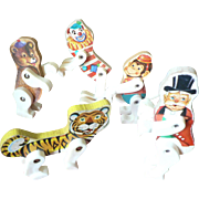 SALE Five 1961-62 Fisher Price Circus Characters Ring Master, Clown, Monkey, Bear & Tiger