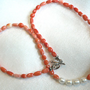 Genuine Coral & Fresh Water Pearl Necklace
