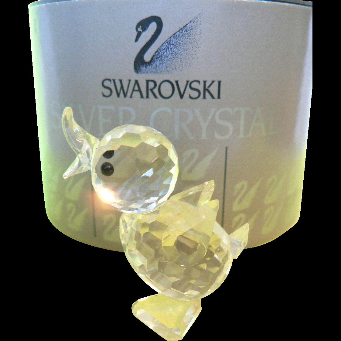 Vintage Swarovski Crystal Mini Drake Duck #7660 & Box