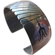 Vintage Native American Sterling Silver Overlay Cuff Bracelet