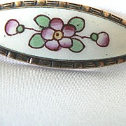 Vintage Antique Flower Enameled Bar Pin