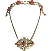 SALE Incredible Vintage Celluloid Carved Coral Celluloid Roses Necklace & Bracelet Parure