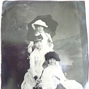 Victorian 1/4 Size Tin Type Tintype Photograph 3 Ladies in Hats w. Parasols