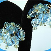 Vintage Fun Dangle Blue Crystal Bead Earrings Clip Style