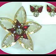 Vintage Celestial Star Red Rhinestone Pin Pendant with Matching Earrings Parure
