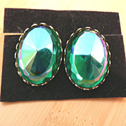 Vintage Carnival Glass Chunky Earrings, Peacock Blue - Green & Amethyst
