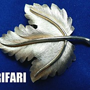 Stunning Vintage Chased Fall Leaf Pin Brooch by Crown Trifari