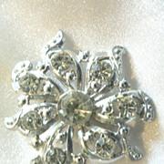 Vintage Clear Rhinestone Large Snowflake Pin
