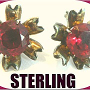 Vintage 1933  Art Deco Sterling & Ruby Colored Rhinestone Earrings