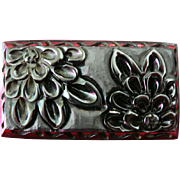 FABULOUS Deeply Carved 1930's Black Floral Bakelite Brooch Pin