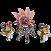 SALE Fabulous Vintage Floral Pink Rhinestone, Enamel, & Aurora Borealis Brooch & Earring Set