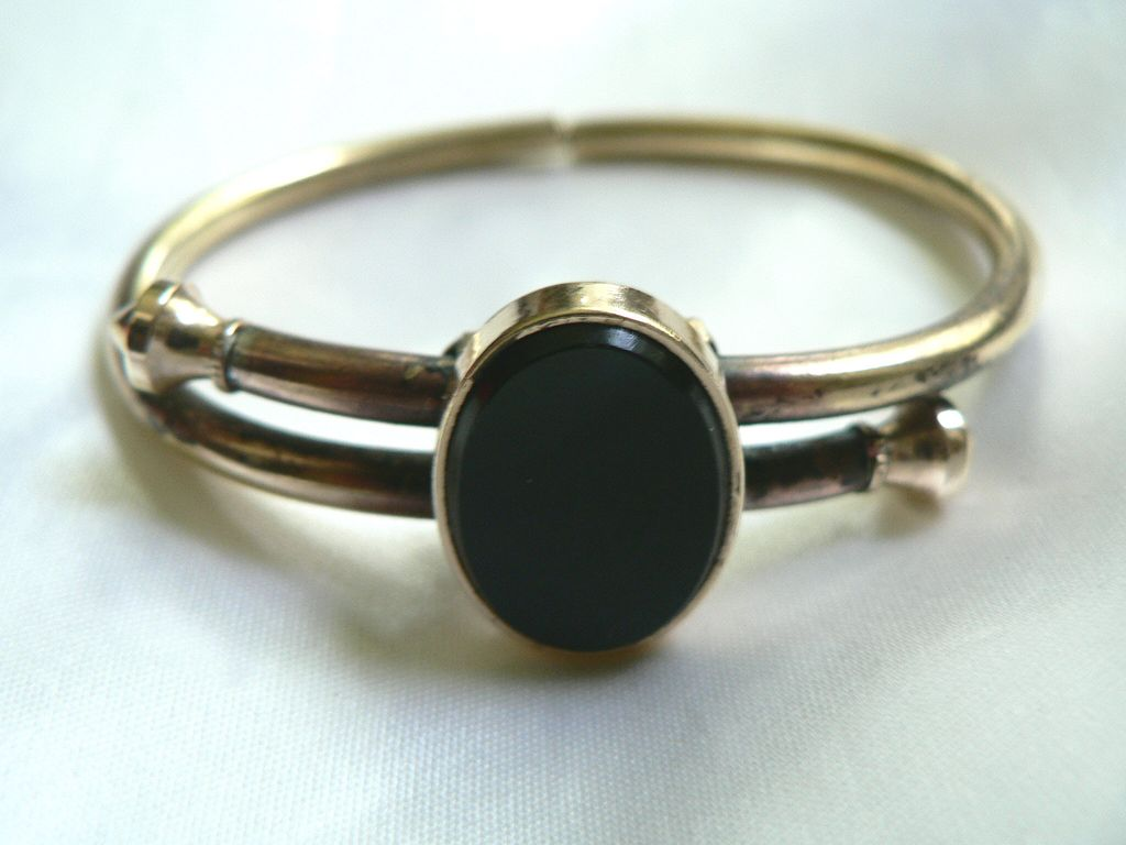 Dated 1879 Victorian Spring Hinged Mourning Bracelet 12K & Onyx Accents