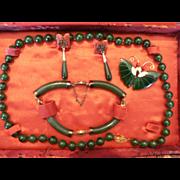 SALE PENDING Vintage Jade Jewelry by Jade Dynasty Collection in Original Silk Box Bracelet / N