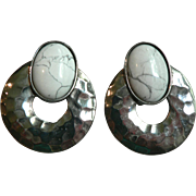 Vintage Carol Dauplaise White Buffalo Turquoise Clip Earrings