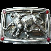 SOLD Vintage 1950's-60's Rodeo Western Belt Buckle Steer Wrestling Cowboy Silverplate - Red Ta