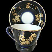 SALE Vintage Russian USSR  Lomonosov Porcelain Cobalt Blue Cup & Saucer