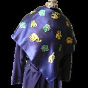 Large Elephant Pattern Silk Vintage Scarf