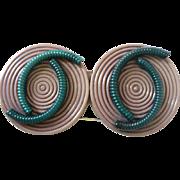 1920's-30's Art Deco Layered Geometric Early Plastic Pin Purple/Green