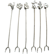 Mexico Mexican 850 Silver Hors d'oeuvre Animal Picks Toothpicks